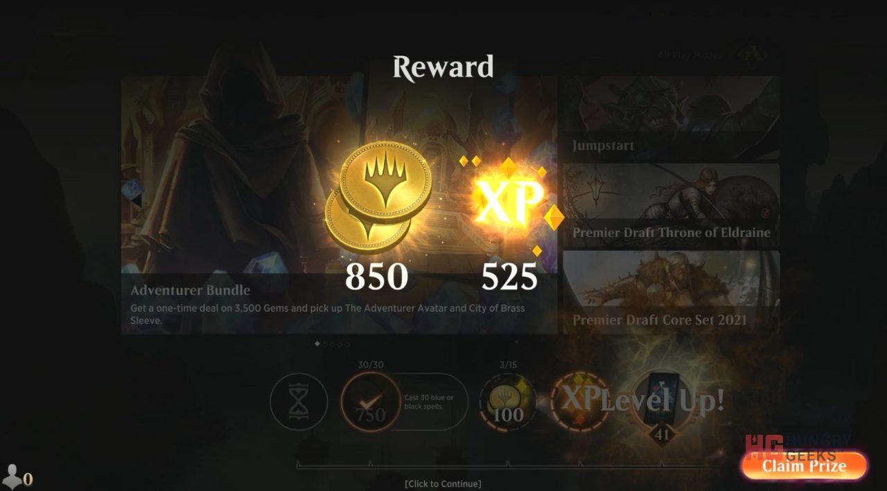 MTG Arena Rewards Gold for completing daily quests